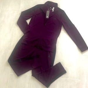 Adidas Track Suit (Eggplant + Black)